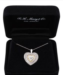 Macy's Jewelry - Diamond Two-Tone Heart Necklace in